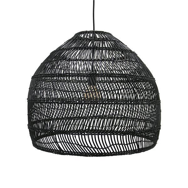 Black Wicker Hanging Lamp - Medium